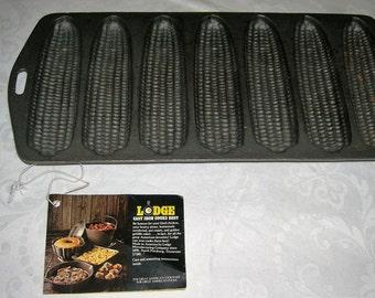 Vintage Lodge Cornbread Corn Stick Cast Iron Pan 7 Pockets Cone Pone Retro Kitchen Never Used