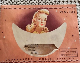 Vintage 1940s Dress Shields Deadstock Unused In Original Package Wonderful Graphics
