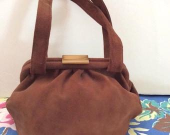 Vintage 1940s 1950s Handbag Purse Genuine Tan Suede Soft Beautiful