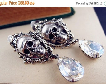 CLEAROUT SALE 40% OFF Ear cuff No Piercing--aged sterling silver plated brass,Swarovski crystals,skull gothic earrings,statement,victorian,d