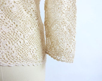 Vintage Sweater / Crochet Sweater / Sheer Lace Top / Lace Blouse / Cardigan Sweater / Handmade / Crochet Lace Blouse Creme Cream