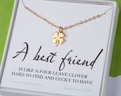 Four leaf clover necklace,shamrock necklace,custom message card,St patrick's day,Best friend gift,graduation gift,sisterhood,birthday gift