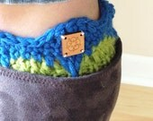 chunky knit womens wool boot cuffs socks - in royal blue and apple green