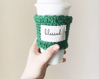 Blessed emerald green coffee sleeves, gifts for lady boss, gifts for boss woman, mom gift, thankful and blessed, teacher appreciation gift