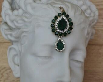Stunning - Large - Green Paste and Rhinestone Pendant - wow!