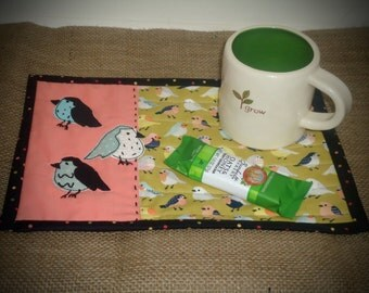 Mini Quilted Mug Rug, Little Bird mug rug , large coaster, snack mat