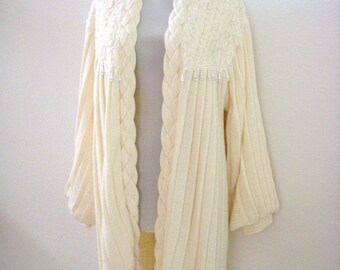 Stunning Vintage 80s Ivory Knit Sweater Coat with Pearl Dangles and Pleats - Off White Long Sweater Coat - 80s Avant Garde - Small to Medium