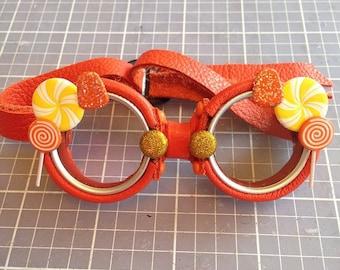 OOAK Blythe Orange Steampunk Goggles by Kaleidoscope Kustoms - Citrus Splash