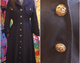 1940s 50s Christian Dior & Chanel New Look couture princess Coat wasp Black Friday sale