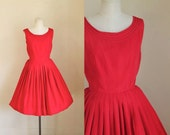 vintage 1950s cocktail dress - BITTEN APPLE red party dress / XS