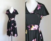 vintage 1970s floral dress - ORCHID LEI black tropical dress / M