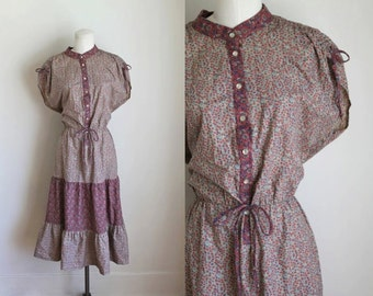 vintage 1970s boho dress - MAUVE pink calico peasant dress / S-M