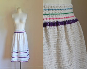 50% OFF...last call // vintage 1970s crochet skirt - CONFECTION cream knit skirt / fits most