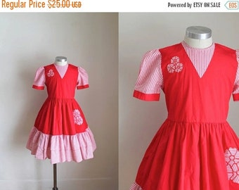 40% OFF back2school SALE vintage girl's party dress - CANDY 80s does 50s red dress / 10yr