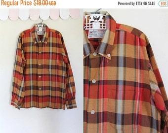 40% OFF back2school SALE vintage 1960s boy's plaid shirt - APPLE Cider orange & red button down / 12yr