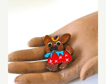 SHOP SALE vintage 1940s wooden dog brooch - BOSTON Terrier puppy pin