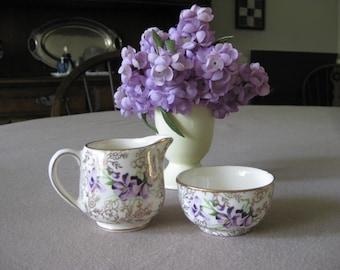 Vintage James Kent Cream and Sugar / Violets / Longton