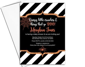 Halloween baby shower invitations | orange, black and white stripes | halloween invites | spider web | printable or printed - WLP00756