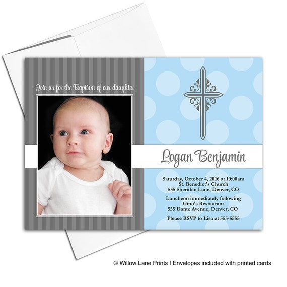 Baby boy christening invite baptism invitations blue and gray il570xn stopboris Images