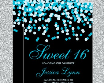 Teal Blue & Black Confetti Sweet 16 Birthday Invitations - Quinceanera Invitation - Guest and Return Addressing - Custom Colors Available