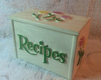 Vintage Faux Wood Plastic Recipe Box