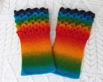 Rainbow Striped Crocodile Stitch Dragon Scale Crochet Wrist Warmers Wrist Cuffs Handmade in Ireland