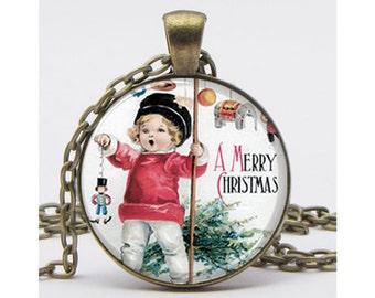 Vintage Christmas Art Pendant with Chain Art Pendant Resin Pendant Picture Pendant