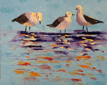 Oil Painting: Three Gulls in the Water
