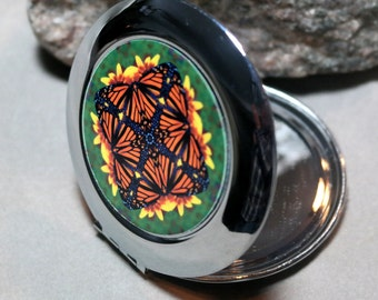 Monarch Butterfly Pocket Mirror Compact Mirror Boho Chic Mandala New Age Sacred Geometry Hippie Kaleidoscope Unique Gift For Her Masquerade
