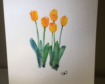Yellow Tulips Watercolor Card / Original Hand Painted Watercolor Card