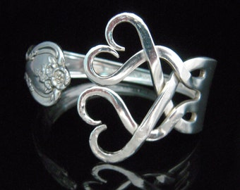 Recycled Jewelry Fork Bracelet in Heart Design Number Three