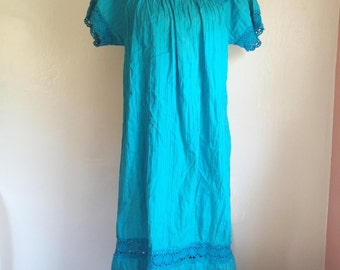 Vintage  1970's mid length Mexican crochet teal dress