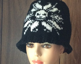 Hand Knit Hat Beanie  With Skulls for Adults, Skull Hat for Men and Women, Black and White Skull Hat For Adults