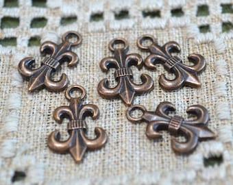 20 Fleur de Lis Charms Antique Copper Pewter 19x14mm
