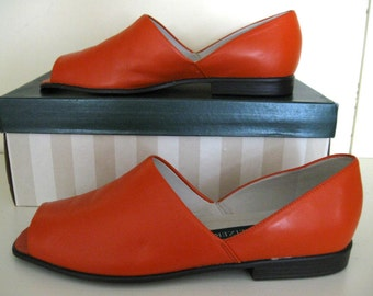 Vintage Naturalizer Leather Shoes Orange Slip Ons Open Toed Brazil 8.5M