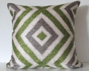 Geo Diamond Sapling green gray velvet ikat decorative pillow cover