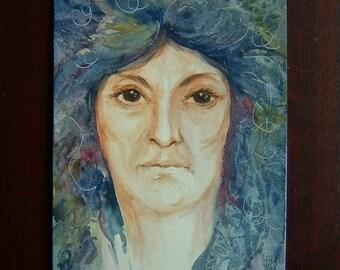 watercolour portrait art painting original ref 325