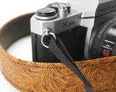 Slim Western Camera Strap, Light Brown Embossed 1.5 Inches Wide