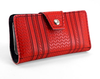 60s GMC Red Chevron Womens Wallet - Made of American Car Vinyl - Upcycled Repurposed Vegan