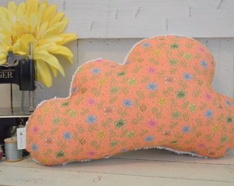 floral tangerine cloud pillow