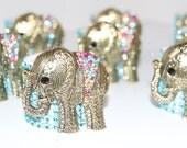 Elephant Pendant Turquoise Bling Napkin Rings Set of 12