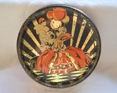 Vintage Art Deco Tin, Pierrot Collectible Tin, Columbine, Black, Orange, Gold, Round Tin, UK, English Tin, 1930s Tin, Collectible Tin