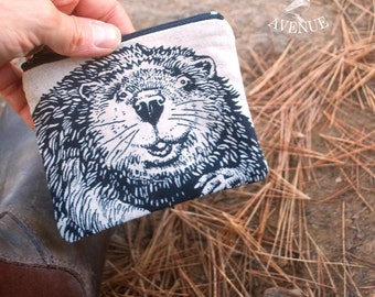 Original Beaver Coin Pouch, Change Purse,  SmallmZipper Pouch, Coin Purse