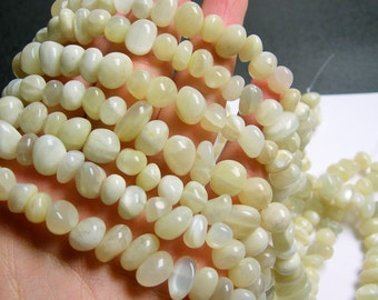 Moonstone nugget beads -  1 full strand - milky moonstone - 8mm -  45 beads - PSC268