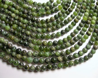 Jade nephrite  - 8mm (7.7mm) round beads -1 full strand - 52 beads - Dendritic Jade  - RFG1010