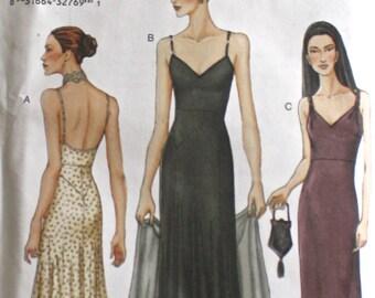 VOGUE Formal Evening Long Maxi Dress . Low Neck & Back Straps Vogue Pattern 7387 . Sewing Supply 2001 Uncut Pattern . Sz  8 - 10 - 12