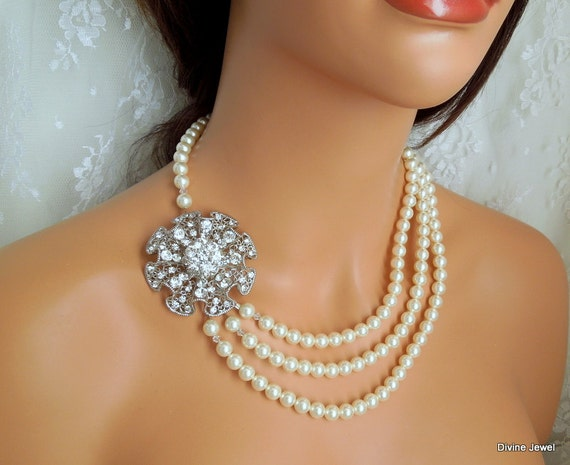 Pearl Necklace,Ivory or White Pearls,Bridal Pearl Rhinestone Wedding Necklace,Bridal Statement Necklace,Pearl Rhinestone Neccklace,ODESSA