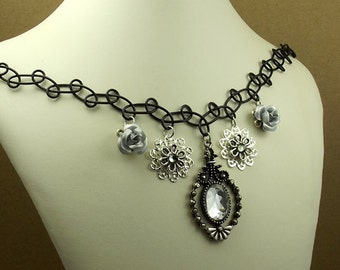 Goth Victorian Choker, Black Stretchy Charm Necklace, Silver Roses, Gray Crystal