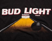 Bud Light Beer Bowling Alley Graphic T-Shirt, Memorabilia, Vintage 90s