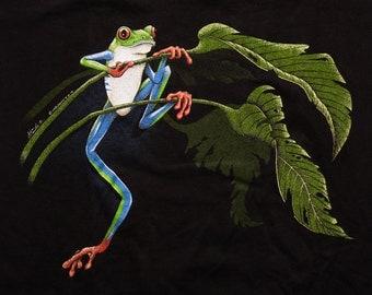 Red-Eyed Tree Frog T-Shirt, Harlequin, Nature Amphibian, Vintage 90s